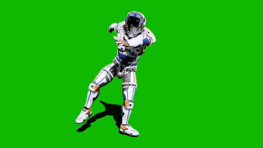 Astronaut-soldier of the future, dancing in front of a green screen. Looped realistic animation. | Shutterstock HD Video #1027024598