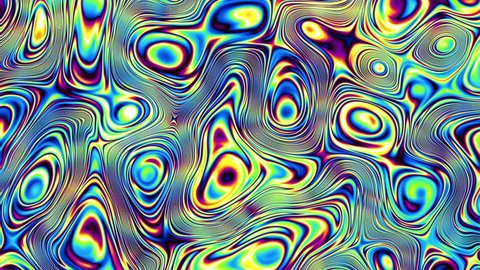 Moving random wavy texture. Psychedelic animated background. Transform abstract curved shapes. Looping footage.