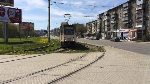 Chelyabinsk, Chelyabinsk / Russia - 05 23 2015: Train transportation in Chelyabinsk, the old soviet union transportation