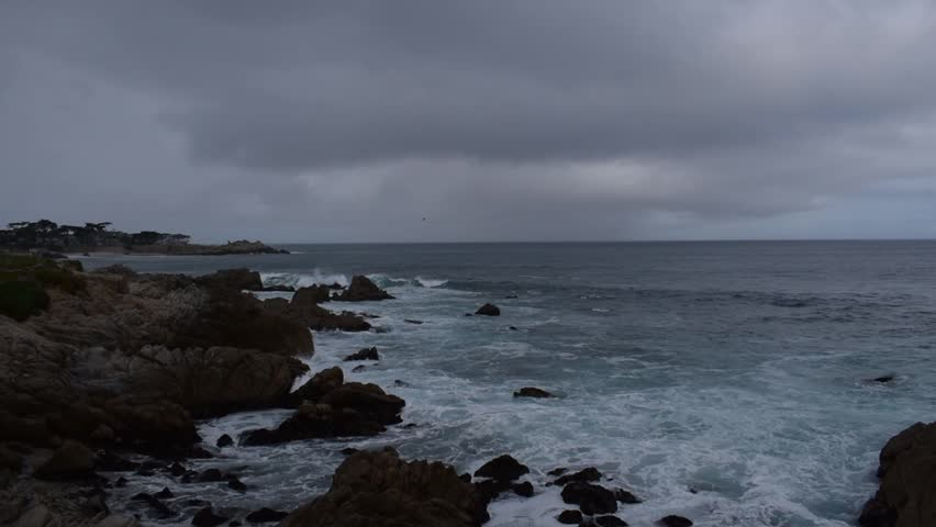 Monterey Bay coastline as storm comes to shore, Pacific Grove California | Shutterstock HD Video #1027188038
