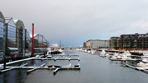 Trondheim, Norway. City center of Trondheim, Norway during the cloudy winter day. Modern building and grey cloudy sky