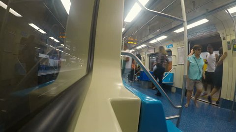 Sao Paulo, Brazil, December 06, 2018. Time lapse of passengers in the wagon and traveling along of line 1 Blue of subway in Sao Paulo city