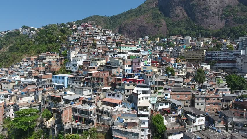 Aerial view of the houses of a favela in Rio de Janeiro, Brazil