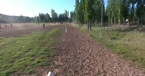 Horseman throwing arrow to target, equestrian sports, drone camera