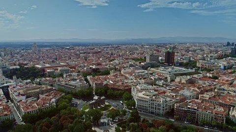 Aerial Drone, Tilt Down, Puerta de Alcalá, Over Town Madrid, Calle de Alcalá, Torres de Colón, Flag of Spain, Spain 4k