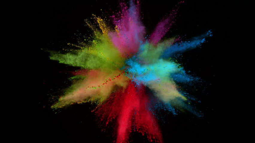 Super slowmotion shot of color powder explosion isolated on black background. #1027476548