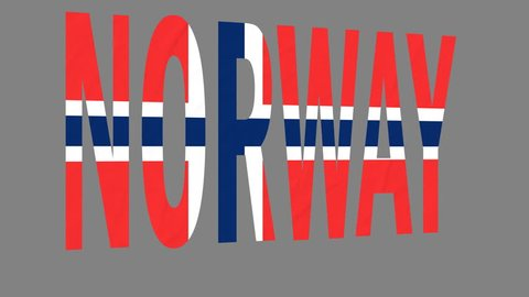 """The animated letters of the word """"Norway"""" in national colors are fluttering like a flag in the wind. This clip has an additional alpha matte that allows to get the background transparent."""