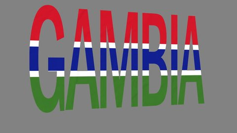 "The animated letters of the word ""Gambia"" in national colors are fluttering like a flag in the wind. This clip has an additional alpha matte that allows to get the background transparent."