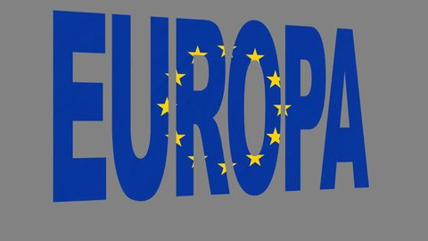 """The animated letters of the word """"Europa"""" in national colors are fluttering like a flag in the wind. This clip has an additional alpha matte that allows to get the background transparent."""
