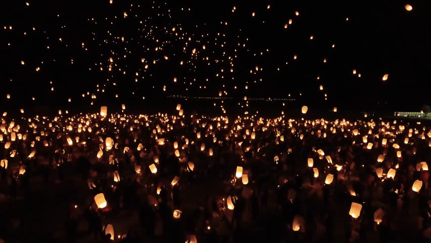 Yee Peng Festival - people release floating lanterns to sky for make a wish for the future in Yee Peng Festival #1027558028