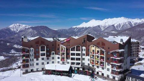05 March 2019. Russia Sochi Krasnaya Polyana. Hotel Rosa Ski Inn, aerial shot