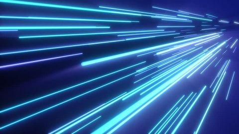 Neon pink blue light streaks. Seamless loop 4k abstract motion background. Fluorescent ultraviolet light, laser neon lines.