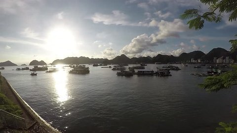 Sunset harbor timelapse in Cat Ba Bay - Vietnam