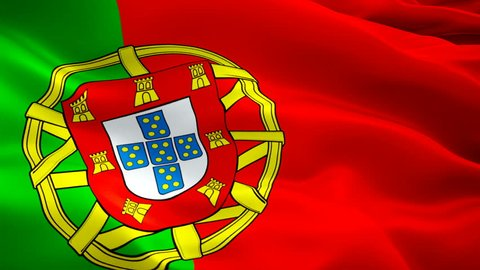 Portugal flag video waving in wind. Realistic Portuguese Flag background. Lisbon Portugal Flag Looping Closeup 1080p Full HD 1920X1080 footage. Portugal EU European country flags/ Portugal Portuguese