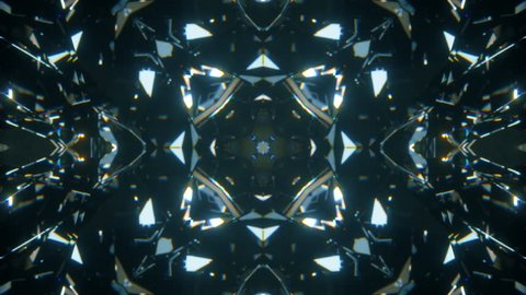 Sparkling abstract rotating diamond macro background with kaleidoscope effect. Seamless loop 4k cg 3d animation