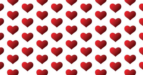 Red gradient heart icons background clip motion backdrop video in a seamless repeating loop. Love & romance themed color heart icon pattern background CGI high definition motion video clip