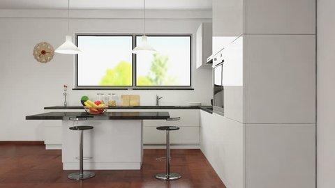 animation in a modern kitchen