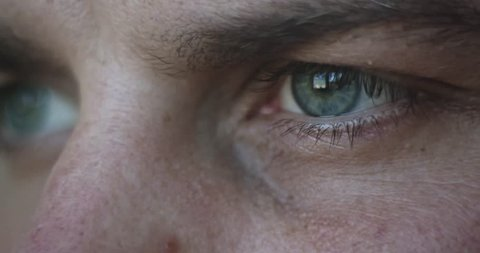 Thinking man eyes, closeup