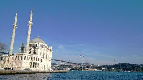 Ortakoy Mosque And Bosphorus Bridge At The Background, Istanbul, Turkey
