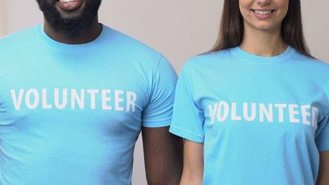 Cheerful multi-ethnic volunteers crossing hands looking into camera, help
