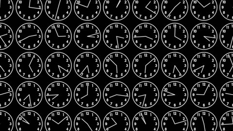 Motion background with spinning clocks in 12 hour seamless loops.