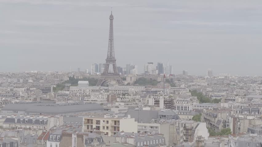 Cityscape of Paris France. Aerial daylight flat view with Eiffel Tower focus. | Shutterstock HD Video #1027779338