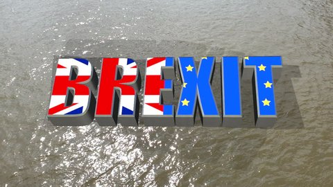Union jack and European flag with the word 'Brexit' floating on the river thames, London, England.