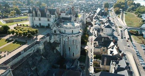 AMBOISE, FRANCE - OCTOBER 8, 2018: Medieval castle Chateau d'Amboise, France