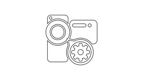 Grey Video camera and gear line icon on white background. Adjusting app, service concept, setting options, maintenance, repair, fixing. 4K Video motion graphic animation
