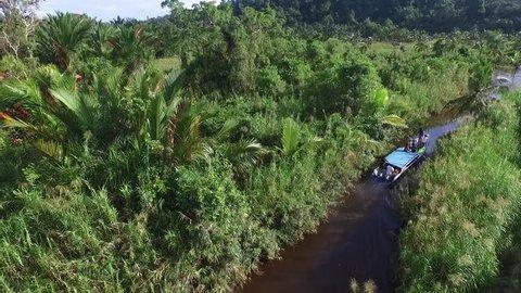 shortcut river in mentawai island, west sumatra, indonesia