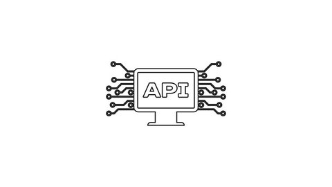 Grey computer api interface line icon on white background  application  programming interface api technology  software integration  4k video motion  graphic animation