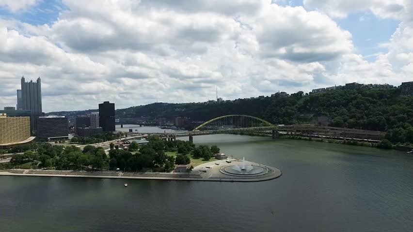 Aerial of the State Point Park Fountain and Fort Duquesne from the Allegheny River Pittsburgh Pennsylvania.Concept: urban, cityscape, sporting, fields, ?drone | Shutterstock HD Video #1027922678