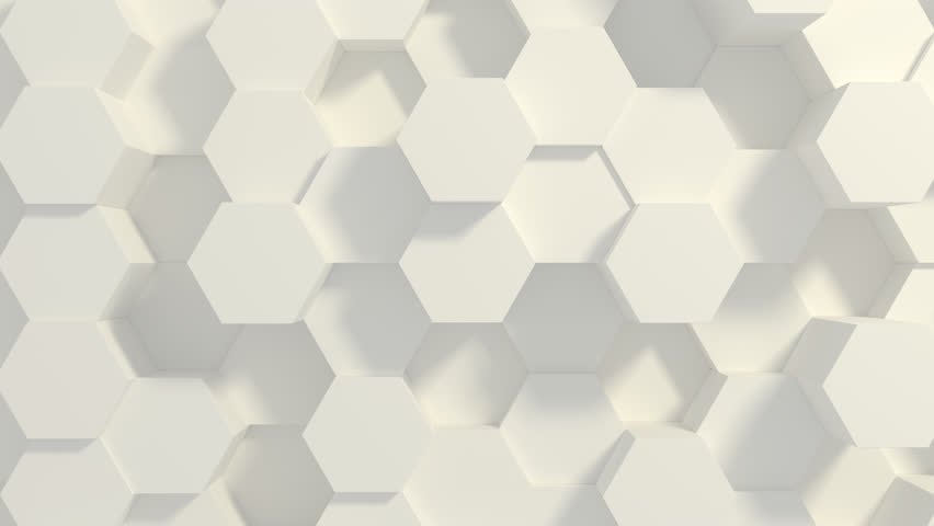 Abstract Honeycomb Background Loop wide angle. Light, minimal, clean, moving hexagonal grid wall with shadows. Loopable 4K UHD Animation. | Shutterstock HD Video #1027931378