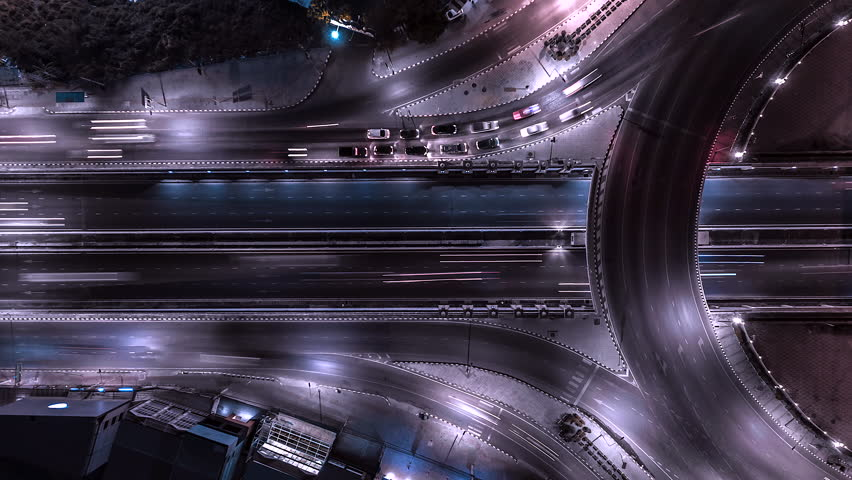 4K,Time lapse night  traffic of the expressway, motorway and highway in the detail of Circle intersection    Shutterstock HD Video #1028005868