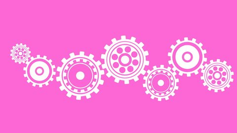 Technology concept - cogs and gears spinning color animation. Minimal motion design. Seamless looping animation.