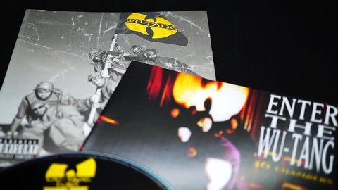 Rome, Italy: 16 April 2019: Two Cds of the American hardcore hip hop group from New York City WU-TAN CLAN. Enter the Wu-Tang (36 Chambers), is considered one of the greatest albums in hip hop history