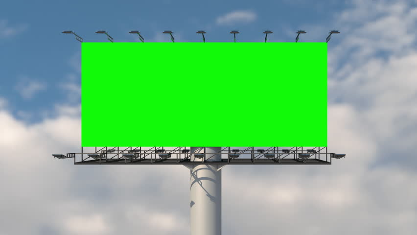 Green screen blank billboard outdoor advertising at blue sky with clouds time lapse background. Space available for advertising ro your message.  | Shutterstock HD Video #1028053088