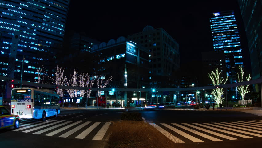 Night time lapse urban street at the business town. Shinjuku-ward Shinjuku Tokyo Japan 01.22.2019 : It is a city location in Tokyo. camera : Canon EOS 5D mark4