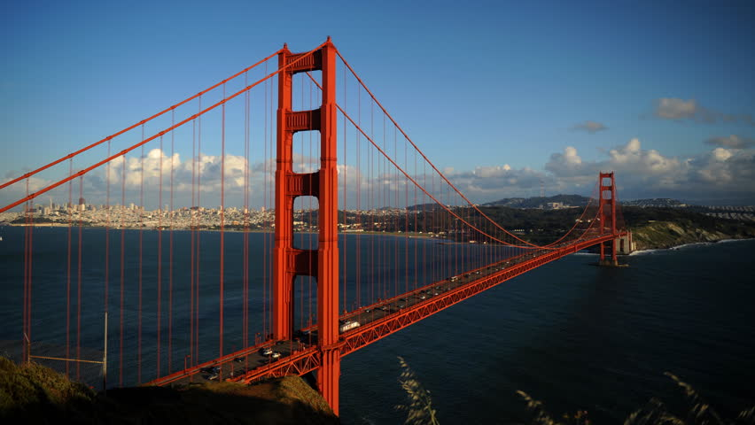 Time Lapse Aerial View of San Francisco Cars Traffic Jam Golden Gate Bridge Day