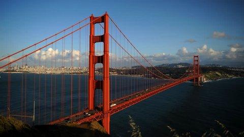 Time Lapse Aerial View of San Francisco Cars Traffic Jam Golden Gate Bridge Day