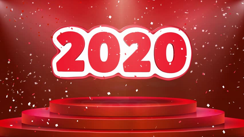 2020 Text Animation on 3d Stage Podium Carpet. Reval Red Curtain With Abstract Foil Confetti Blast, Spotlight, Glitter Sparkles, Loop 4k Animation. | Shutterstock HD Video #1028118908
