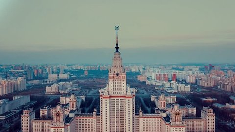 Aerial view of the historical Moscow high-rise building of the Stalin period on a spring morning
