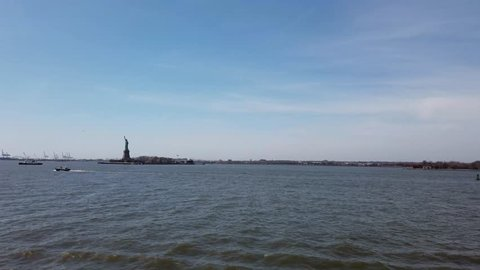 New York City USA, 13rd April 2019: Statue of Liberty National Monument in New York City in the United States showing the river in the USA