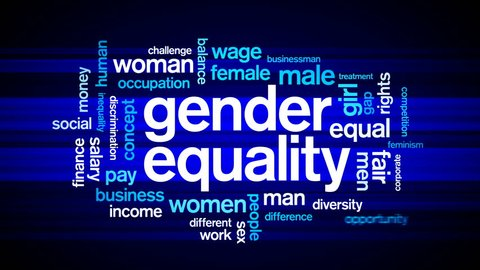 4k Gender Equality Animated Tag Word Cloud,Text Design Animation.