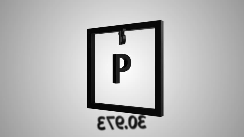 Phosphorus modern icon 3D animation - periodic table element helium on gray and green background | Shutterstock HD Video #1028211038