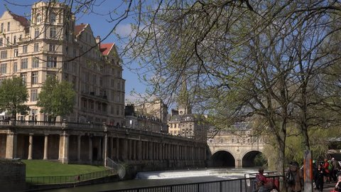 Bath, Somerset / England - April 13 2019: Bath has the best examples of classical architecture in England. It is famous for its baths and as a spa town. UK England 4K