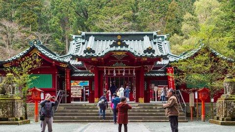 Hakone, Japan - 12 April 2019 - Japanese and tourists visit Ashi Lake Shrine in Hakone, Japan on April 12, 2019