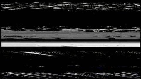 VHS Horizontal Video Glitches Background, Black screen
