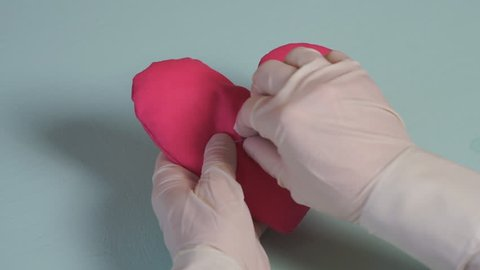 Broken heart. Stitch suture on heart shape, love and health care concept