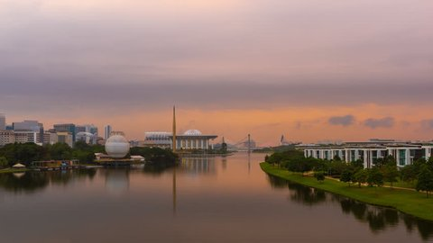 Time lapse of sunrise and clear sky overlooking Tuanku Mizan Zainal Abidin Mosque in Putrajaya, Malaysia with from night to day.